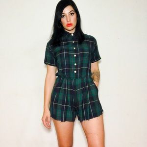 Pants - Ivy League Dropout Romper 💋 Tartan Plaid Playsuit
